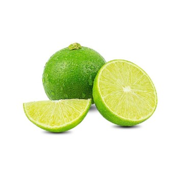 Natural fresh lime with water drops and slice of green lime citrus fruit stand isolated on white background.